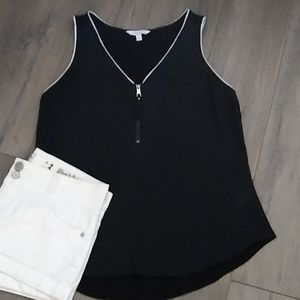 Candies Black Tank with zippered front